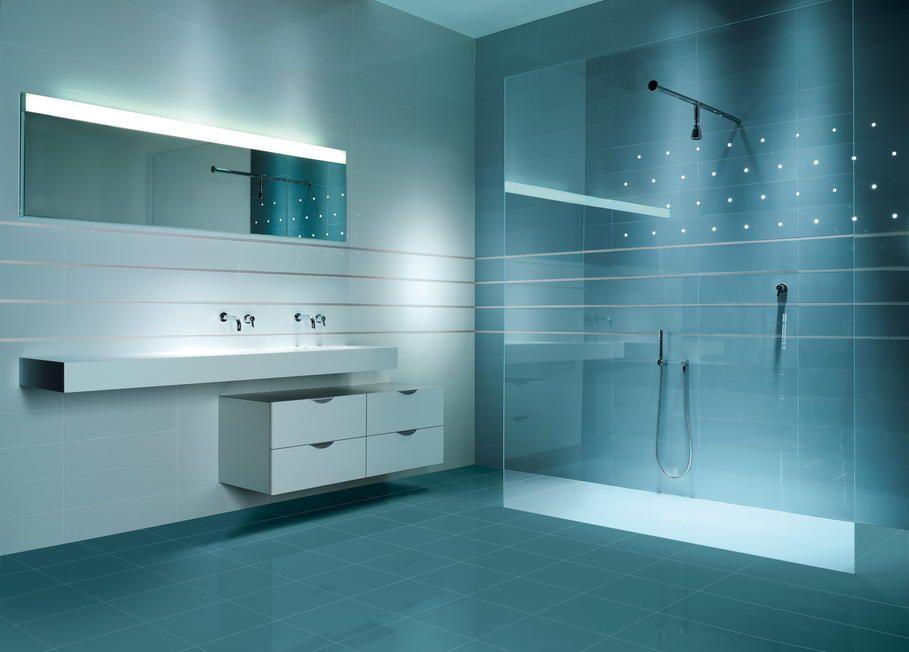 aménagement carrelage salle de bain bleu turquoise