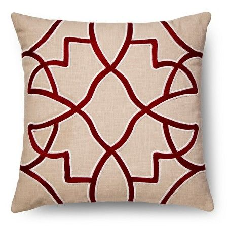 Red Embroidered Fretwork Throw Pillow Threshold Target