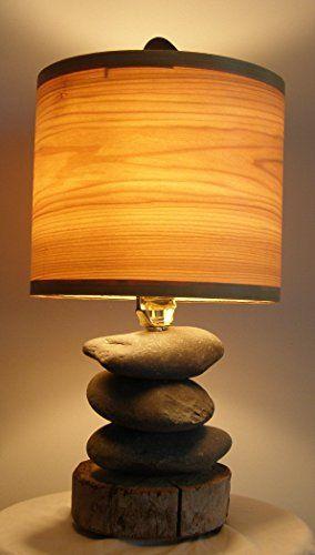 Alaska Beach Stone Lamp With Driftwood Base From Homer Alaska Poplar Veneer Drum Shade Http Www Farmersmarketon Wood Lamp Shade Diy Lamp Shade Stone Lamp