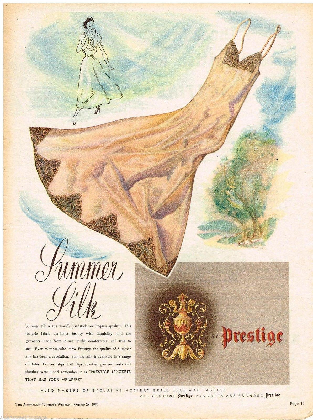 Prestige Lingerie Ad Retro Summer Silk Vintage Advertising 1950 Original Advert   eBay