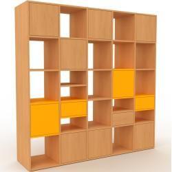 Photo of Holzregal Buche – Modernes Regal aus Holz: Schubladen in Gelb & Türen in Buche – 195 x 195 x 47 cm,