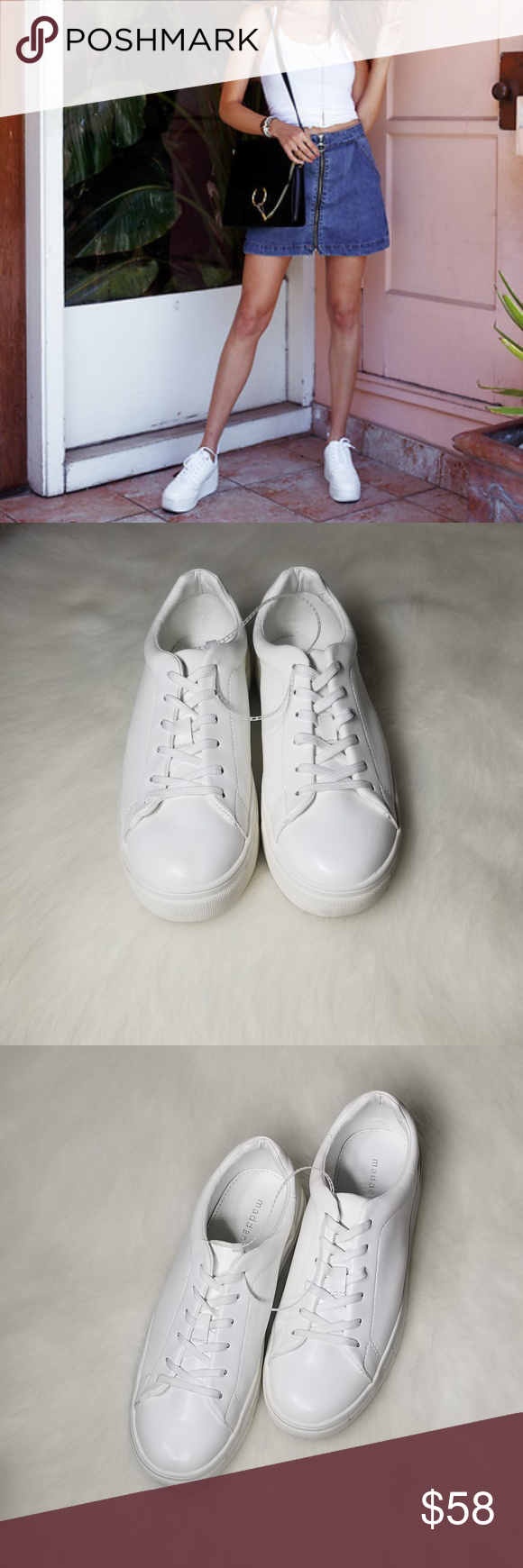 1f587d0245e Madden Girl All White Round Toe Sneakers Up for sale brand new out of box  Madden