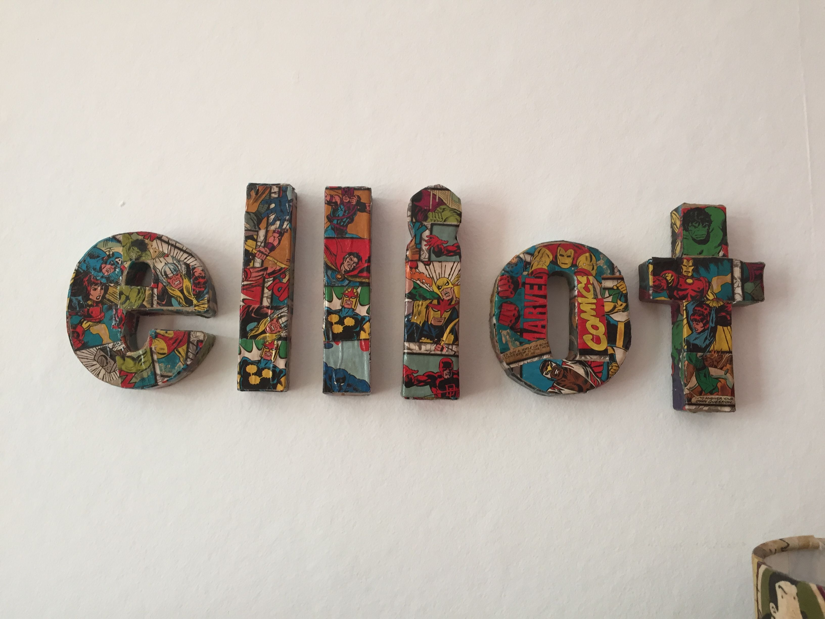 Decoupage Marvel Name For Bedroom Wall Or Door Used Wrapping