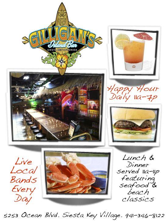 Gilligan's Island Bar & Grill,5253 Ocean Blvd. Siesta Key