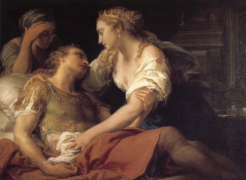 Cleopatra con el moribundo Marco Antonio que se a suicidado enterrándose una espada, des pues de la derrota naval de Accio en la costa Occidental de Grecia, dejando a Octavio dueño indiscutible de la situación y la nueva época de la Roma imperial iniciada por el triunfo de César  Augusto sobre su rival.
