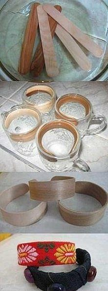 Soak popsicle sticks in vinegar to make bent wood bracelet