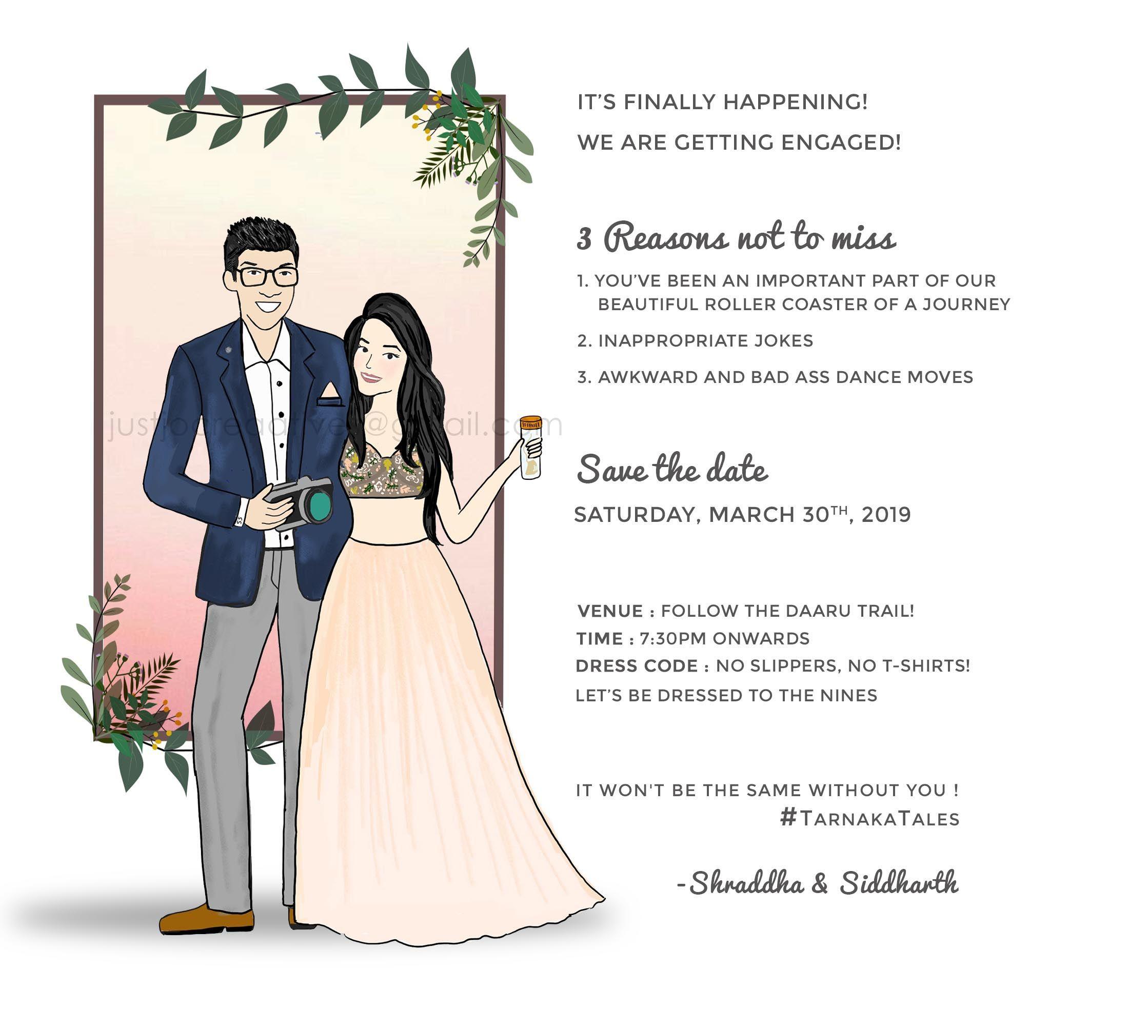 Classy and minimalist illustrated engagement invite Illustrated