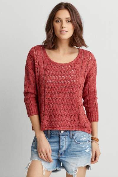 AEO Open Knit Pullover Sweater  by AEO   Hit refresh on your tried