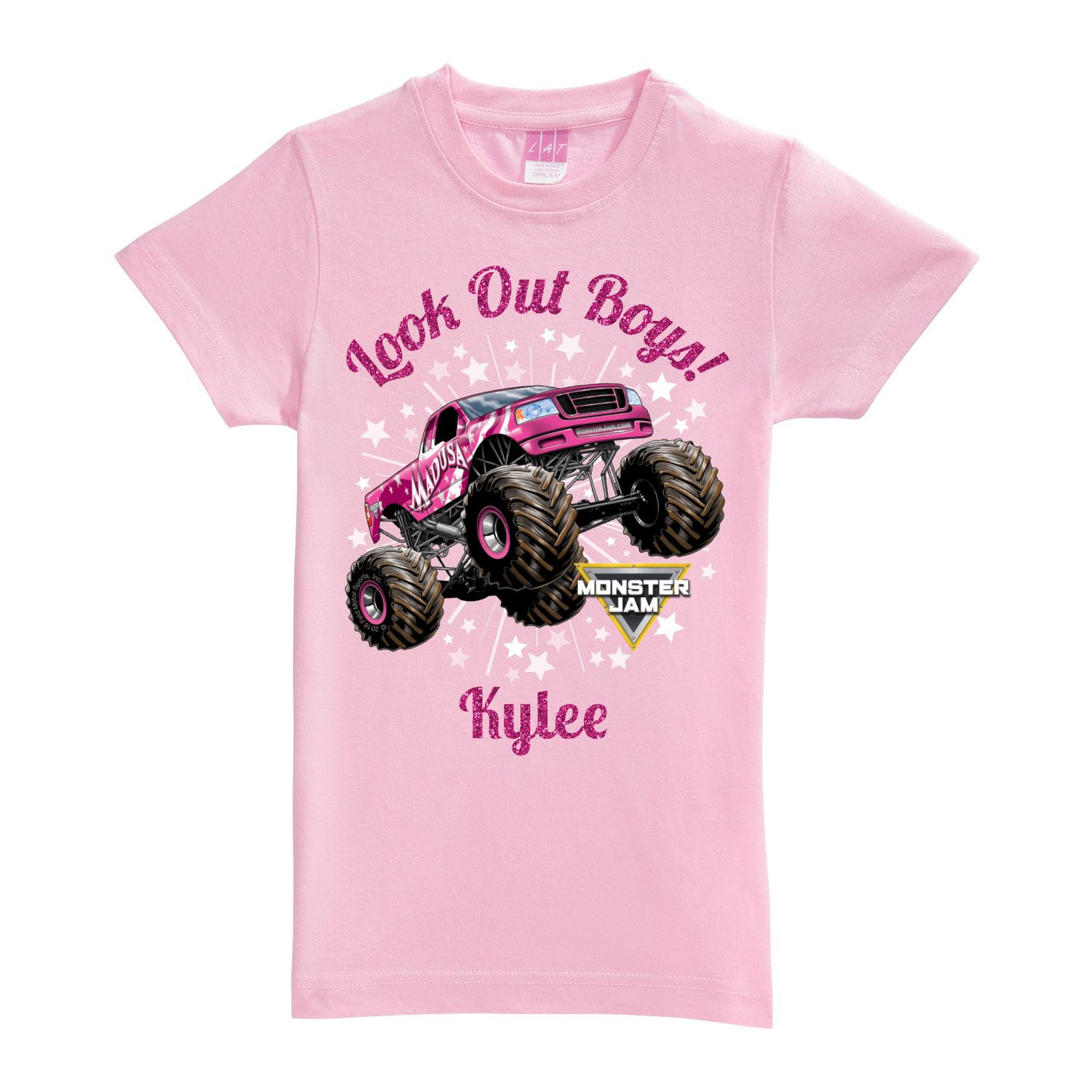 Monster Jam Look Out Boys Madusa Pink Fitted Tee T Shirts Clothing Monster Jam Truck Shirts Monster Trucks