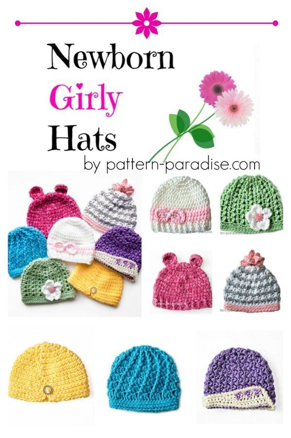 Crochet Pattern: Newborn Girly Hats | Pinterest | Gorros, Bebe y ...