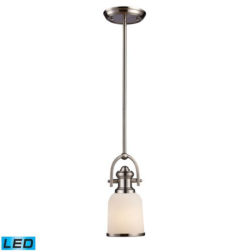 Brooksdale 1-Light Pendant In Satin Nickel - LED Offering Up To 800 Lumens (60 Watt Equivalent) With Full Range Dimming. Includes An Easily Replaceable LED Bulb.