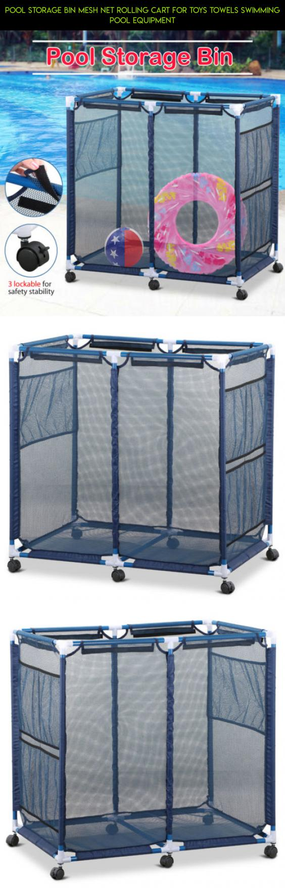 Pool Storage Bin Mesh Net Rolling Cart For Toys Towels Swimming Pool  Equipment #toy #