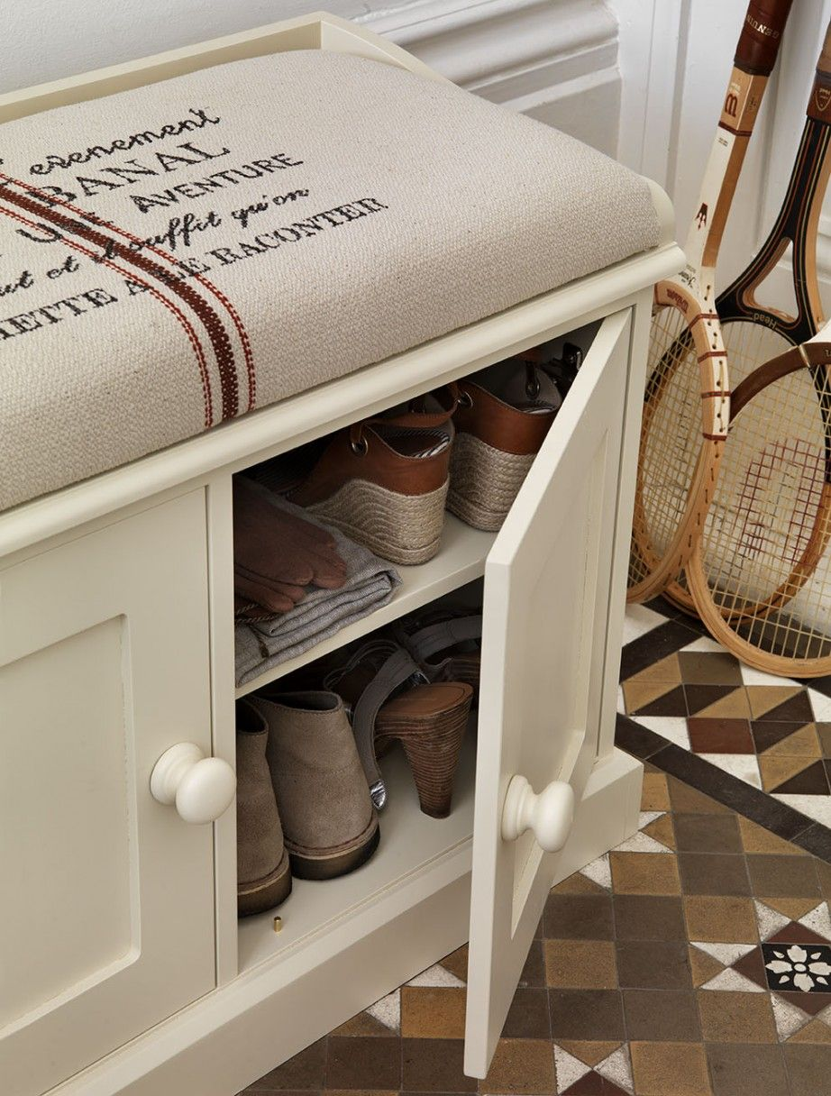 Furniture,Deluxe White Painted Teak Wood Shoe Storage Bench With ...