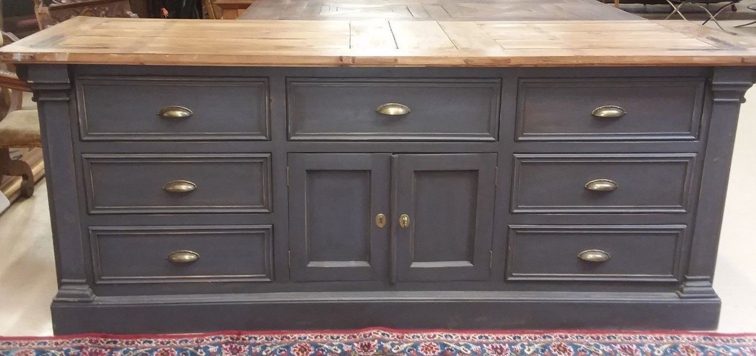 French Painted Kitchen Island Sideboard Cabinet Wood Door ...