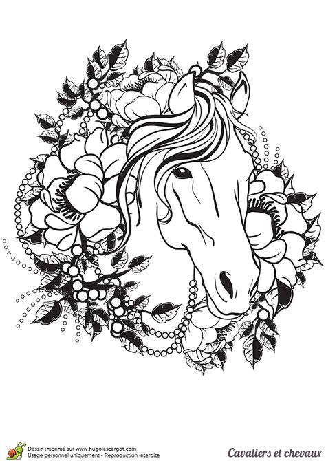 Coloriage cavalier et chevaux, un tatouage de cheval - Hugolescargot.com   Horse coloring pages ...