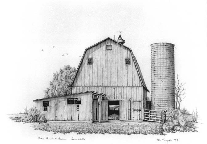 Old weather barns pencil drawings this exhibition of for How to draw a barn easy