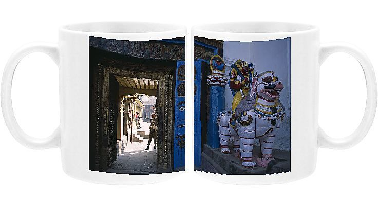 Polyester coated dishwasher safe ceramic mug. NEPAL, Kathmandu <br> Dubar Square. Royal Palace or Hanuman Dhoka. Statue of Shakti riding a lion next to private entrance to palace with a guard seen doorway. nepal, kathmandu, royal palace or hanuman dhoka, dubar square, statue of shakti riding a lion next to private entrance to palac, statue of shakti riding a lion next to private entrance to palace with a guard seen doorway. Image supplied by EyeUbiquitous