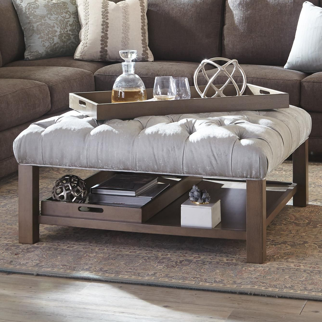 Accent Ottomans Ottoman With Storage Trays By Hickory Craft
