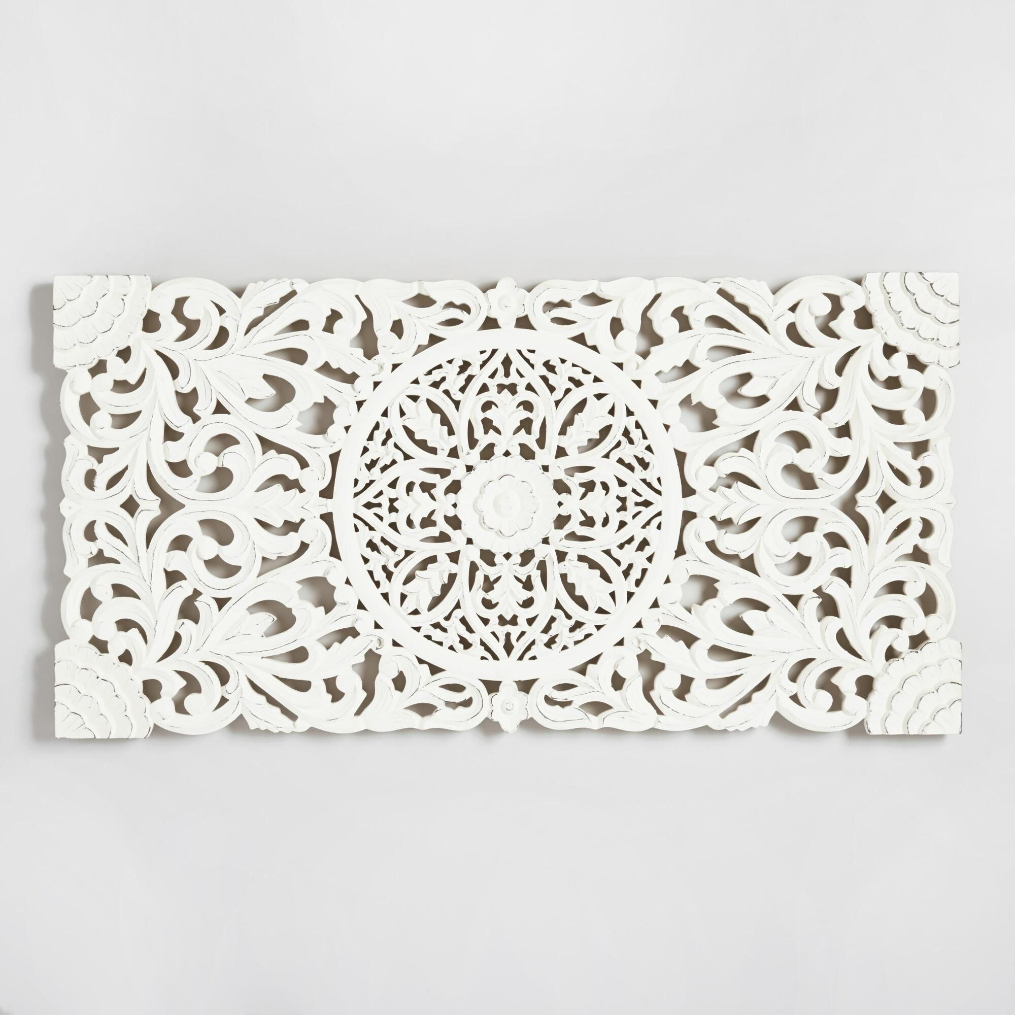 Ivory Wood Floral Wall Panel White By World Market Wall Decor Bedroom Bedroom Wall Decor Above Bed Floral Wall