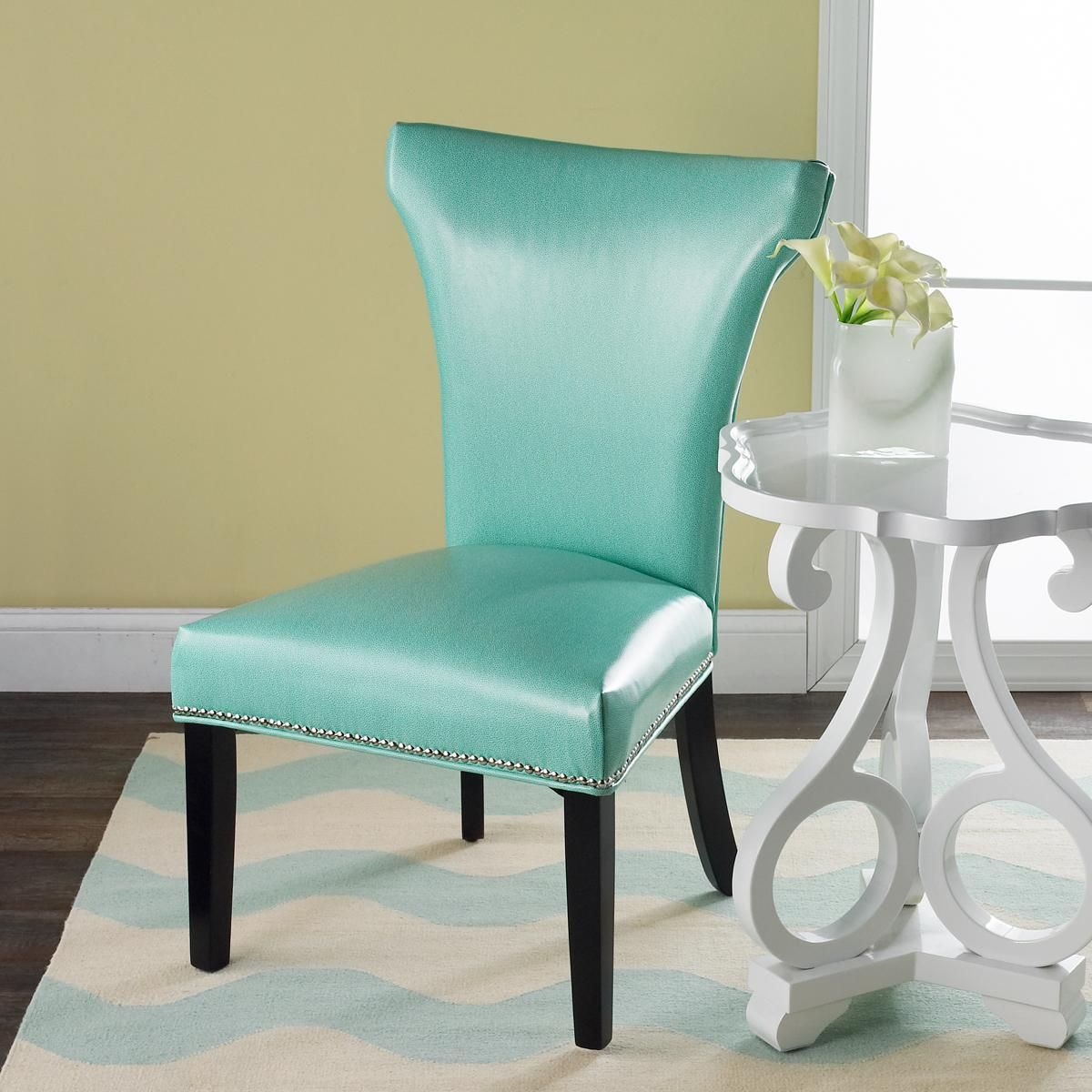 Turquoise Parsons Chair The Shapely Flared Back Design And