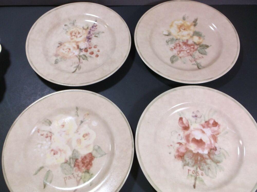 222 Fifth Rose Bouquets Salad Plates By Cheri Blum Set Of 4 222fifth Plates Appetizer Plates Set Salad Plates