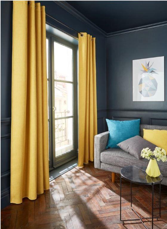 rideau occultant colours barcelona jaune 140 x 240 cm salons pi ces vivre curtains sofa. Black Bedroom Furniture Sets. Home Design Ideas