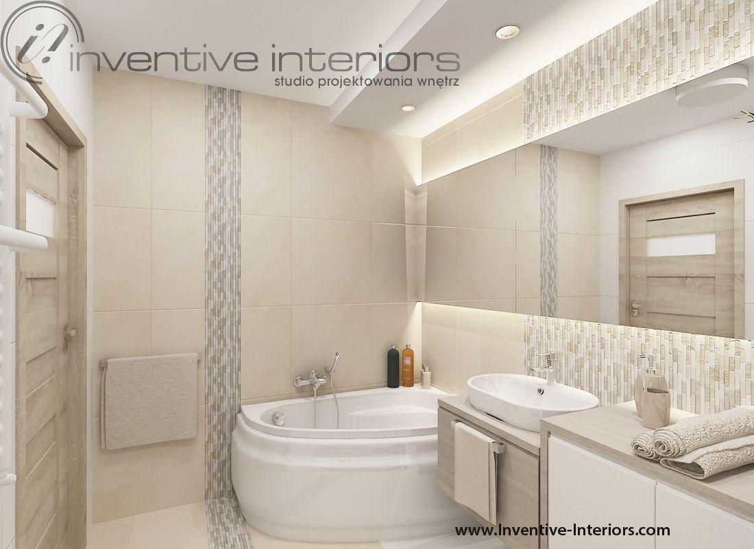 Projekt łazienki Inventive Interiors Beżowa łazienka Z