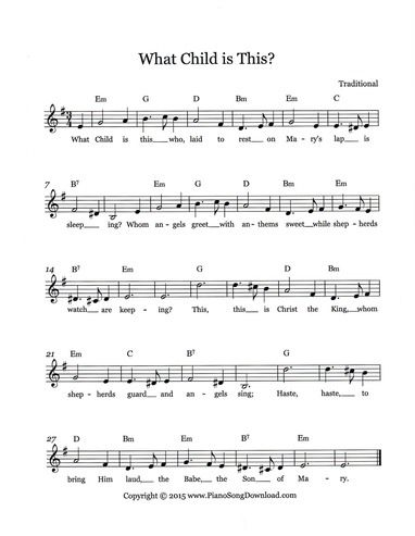 What Child is This? Free Christmas Lead sheet from Piano Song Download. | Hymn sheet music, What ...