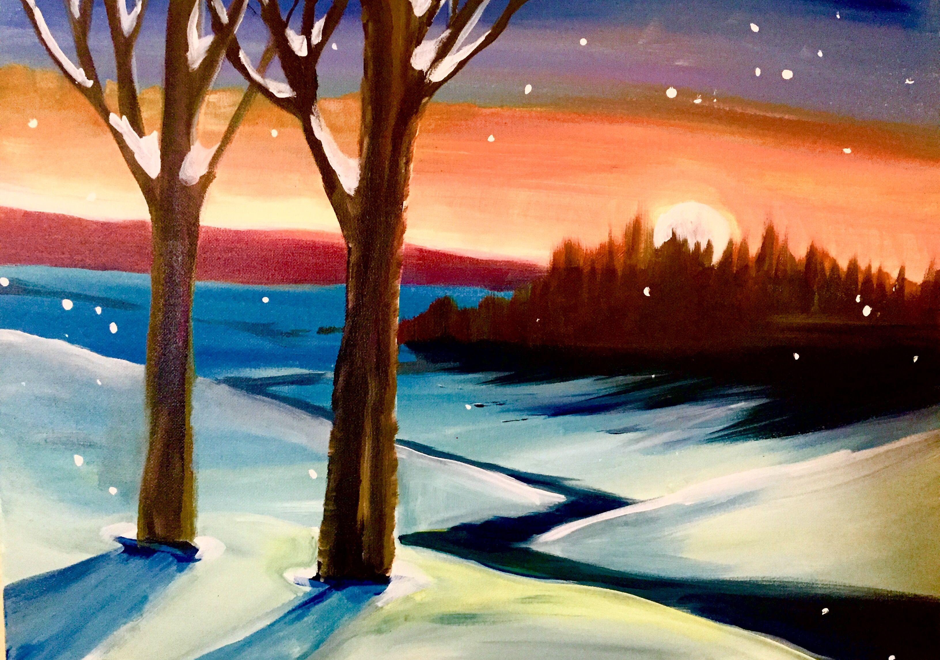 обычно, рисунок зимнего пейзажа гуашью того, увеличившееся расстояние