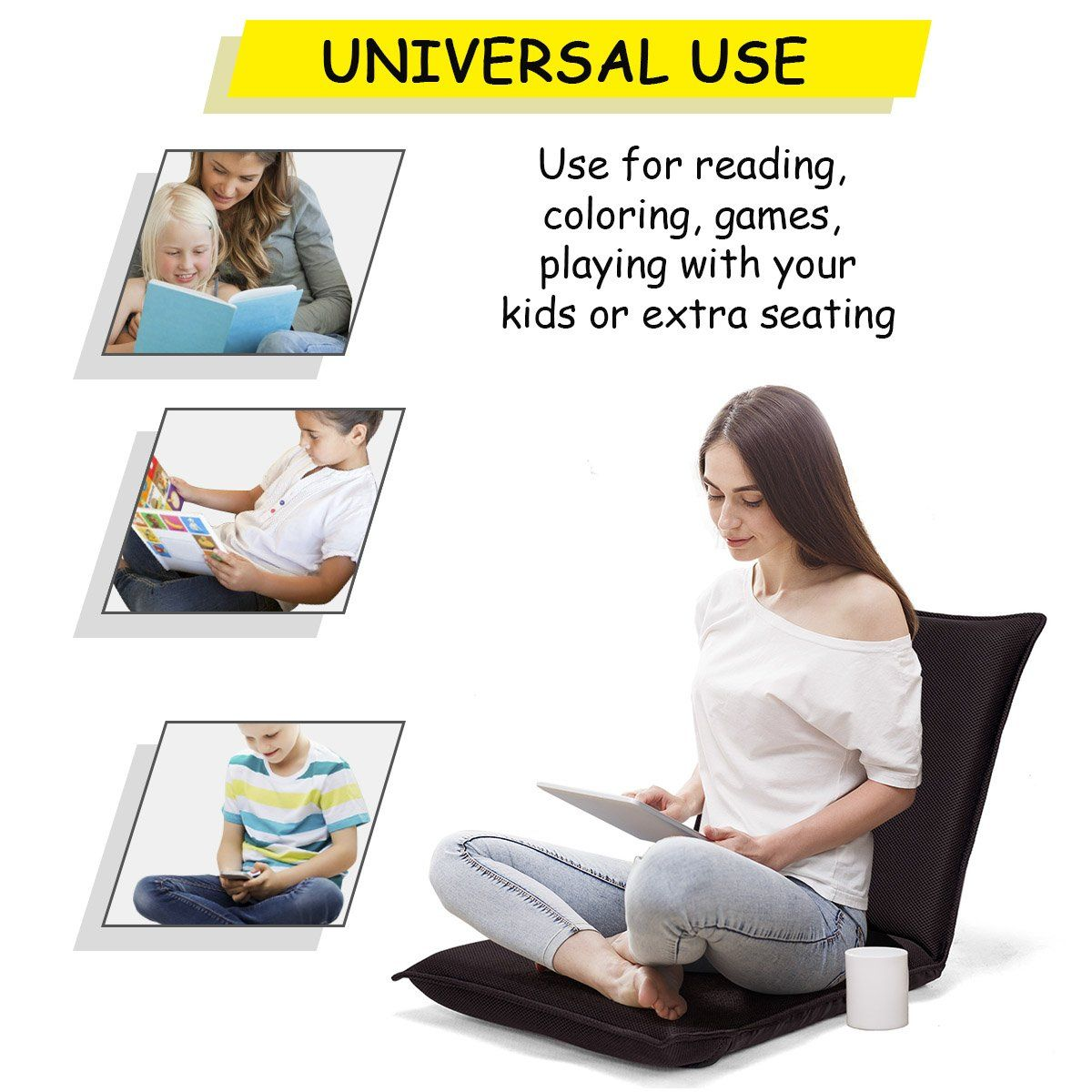 Amazonsmile Giantex Adjustable Floor Gaming Sofa Chair Folding Lounge Recliner 6 Position Comfortable Cushioned Back Suppor Floor Chair Chair Versatile Chairs