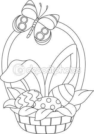Baixar - Página de colorir de cesta de Páscoa — Ilustração de Stock ...