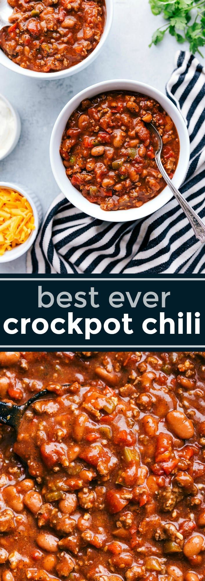 A delicious crockpot chili with dozens of 5-star reviews and winner of multiple chili cook-offs! This crockpot chili recipe winner is made with plenty of spice and packed with lots of flavor! via