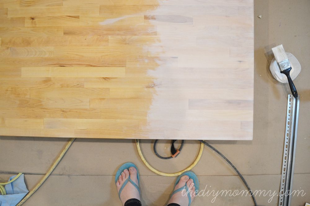 Whitewash And Seal A Butcher Block Counter Top The Diy Mommy Butcher Block Countertops White Wash Stain Wood Countertops