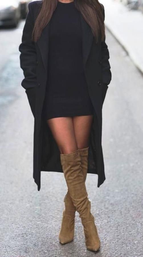 Bodycon dress knee high boots and shorts outfit new look lord