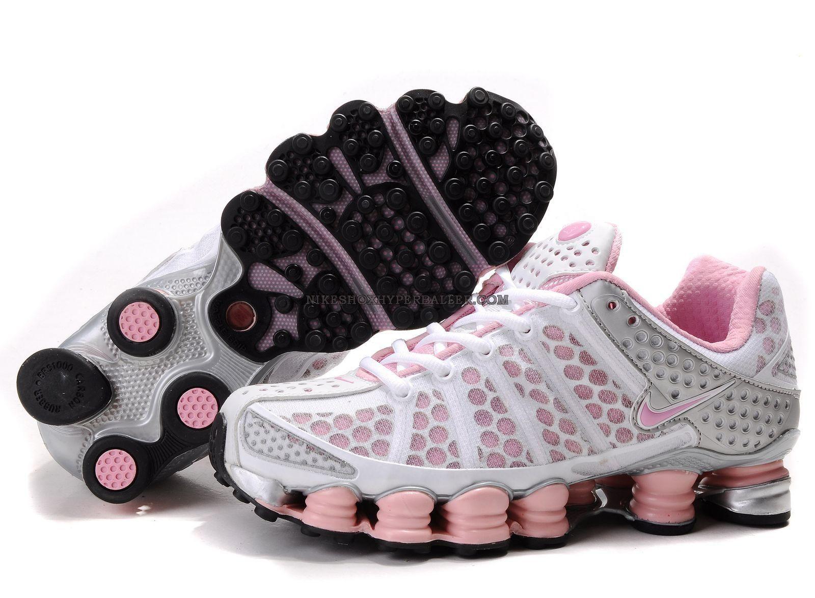 Nike shox pink and white