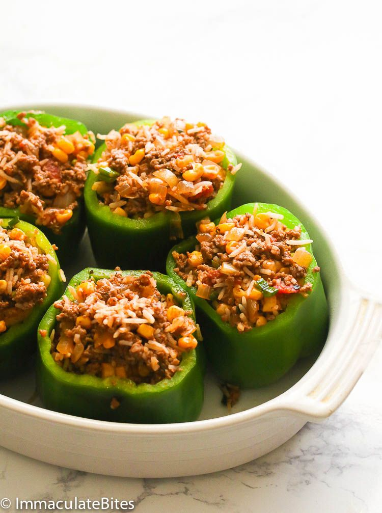 Jump To Recipe Print Recipestuffed Green Bell Peppers Easy To Make Side Or Main Dish Using Min Stuffed Peppers Stuffed Bell Peppers Green Bell Pepper Recipes
