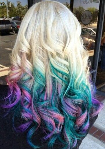 Blonde Teal Blue Pink Ombre Dyed Hair Idea Hair Dye Tips