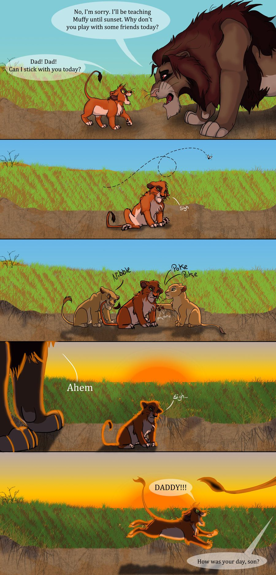 Ahadi and Scar, it's kinda sad because Ahadi is king of all light touches so he spends time with Mufasa all day when it light. And will only be with Scar when it is after sunset