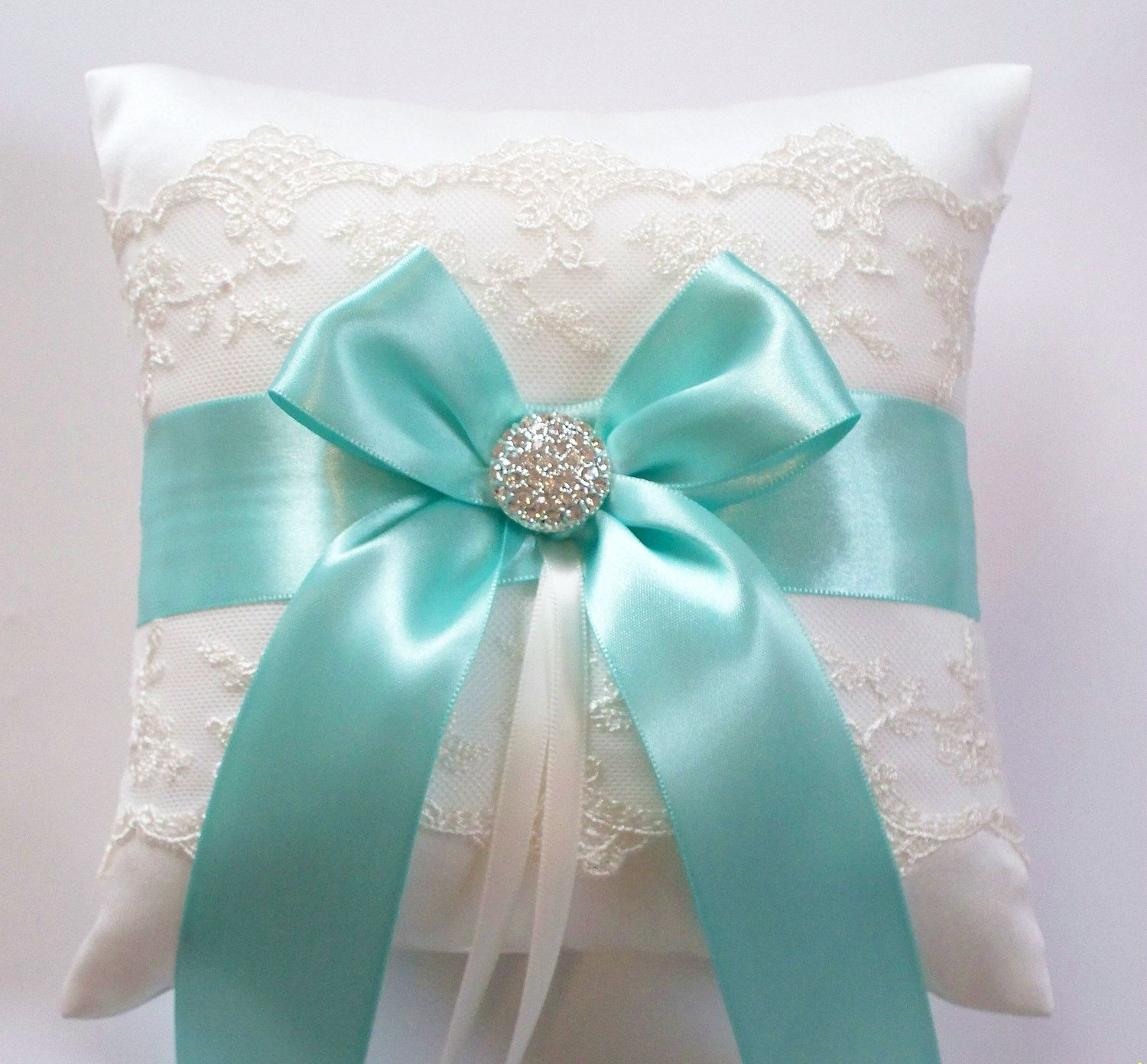 Wedding Ring Pillow Tiffany Blue Ribbon Pillow With By