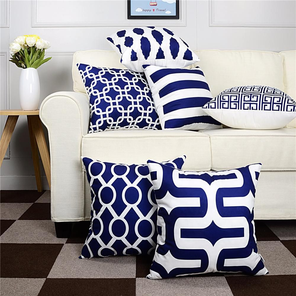 Topfinel Geometric Decorative Throw Pillow Cases Cushion Covers Navy Blue For Sofa Us 4 42