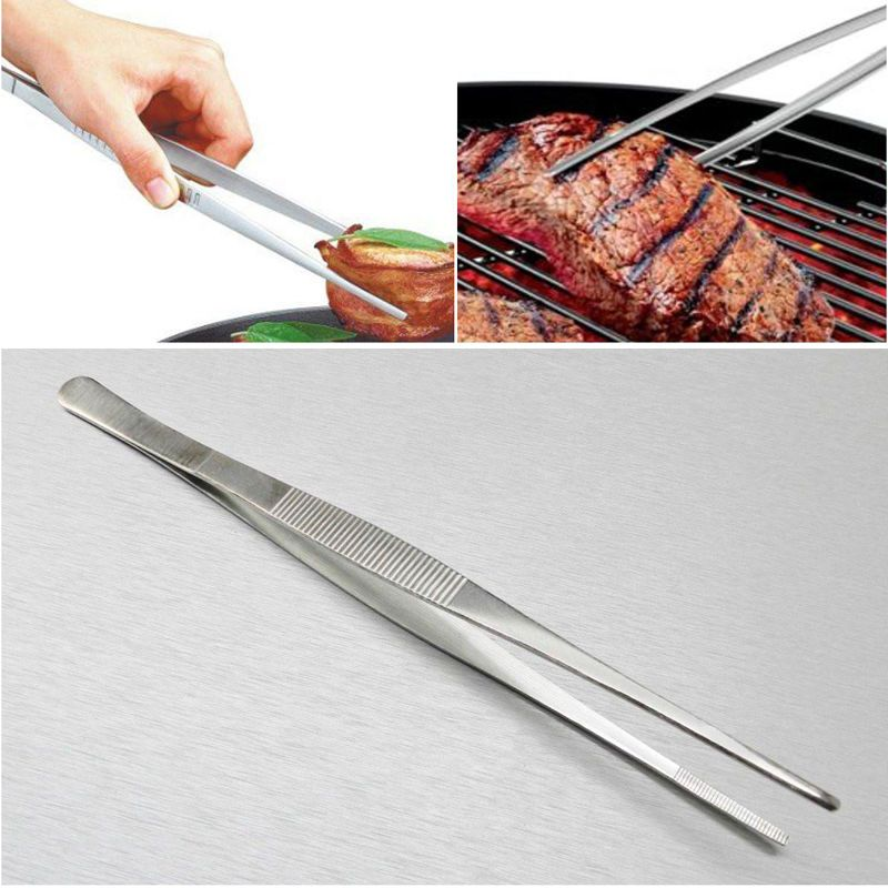 12/'/' 30cm Silver Stainless Steel Long Food Tongs Straight Tweezers Kitchen Tool