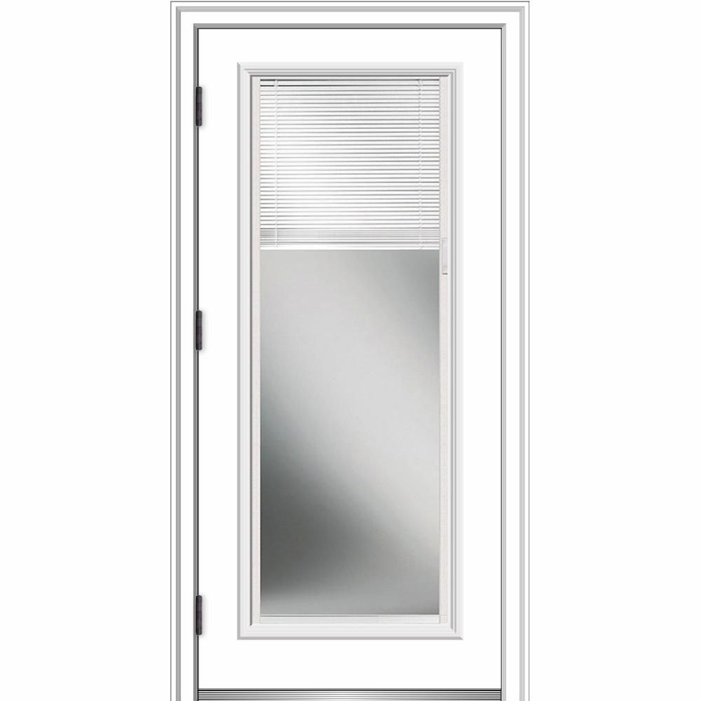 Mmi Door 36 In X 80 In Internal Blinds Right Hand Outswing Full Lite Clear Primed Fiberglass Smooth Prehung Front Door Exterior Doors Exterior Front Doors Prehung Doors