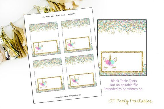 INSTANT DOWNLOAD - Unicorn Face Table Tents - Printable Food
