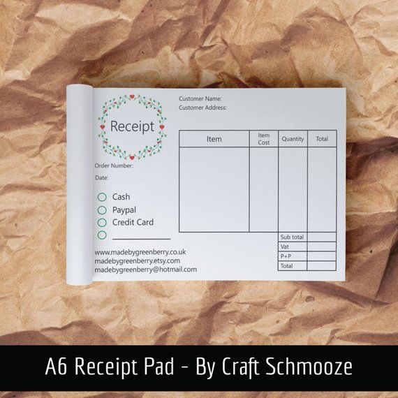 Receipt Pad Receipt Book A6 Pad Business Stationery Cash Etsy In 2021 Business Stationery Business Notebooks Etsy Packaging
