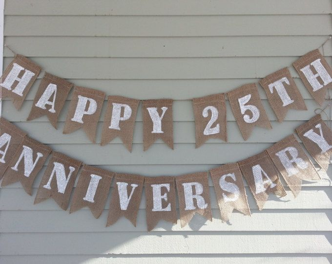 Wedding Anniversary Banner Just Married 50 Years Etsy Happy 25th Anniversary Anniversary Banner 25th Wedding Anniversary Party