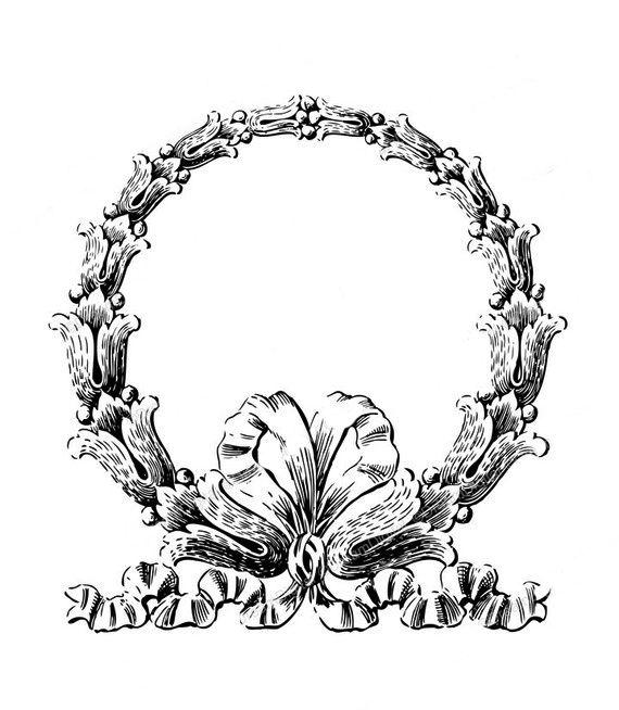Vintage Clip Art Fab Ornate Wreath Frame