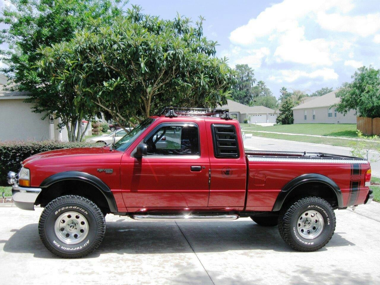 My 99 Ford Ranger 5 Inch Lift Ar 8 15 Alloy Rims With Bf Goodrich At 33 12 5 15 Tires Rancho 5000 Series Shocks With Ranc Ford Ranger Ranger 4x4 Mini Trucks