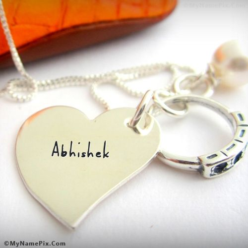 The Name Abhishek Is Generated On Personalized Nick Name Heart Necklace With Name Image Download And Share Name On Jewelry Images And Impress Your