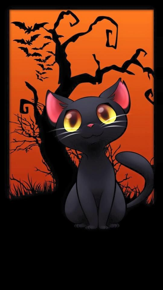 Halloween Night Kitten Halloween Wallpaper Cat Art Cat Drawing
