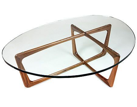 Karl Coffee Table With Walnut Base And Gl Top In Midcentury Modern Style